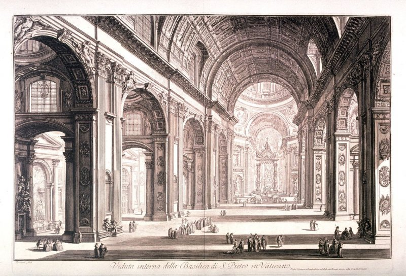 Veduta interna della Basilica di S. Pietro in Vaticano (Interior view of St. Peter's Basilica in the Vatican), from Vedute di Roma (Views of Rome)