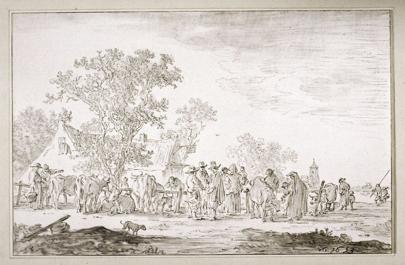 [Landscape with a house, farm animals and people]