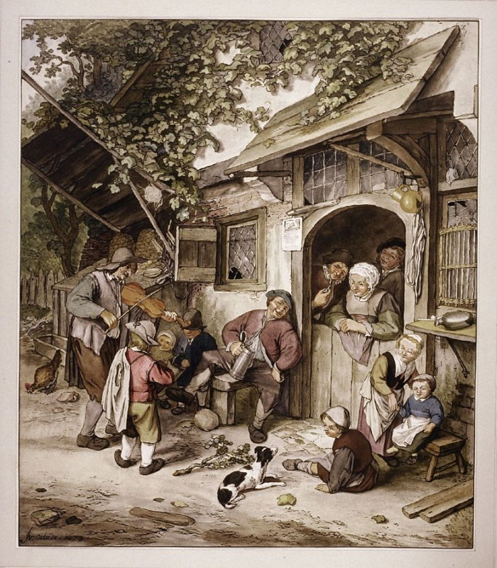 [Children and adults in front of a tavern]
