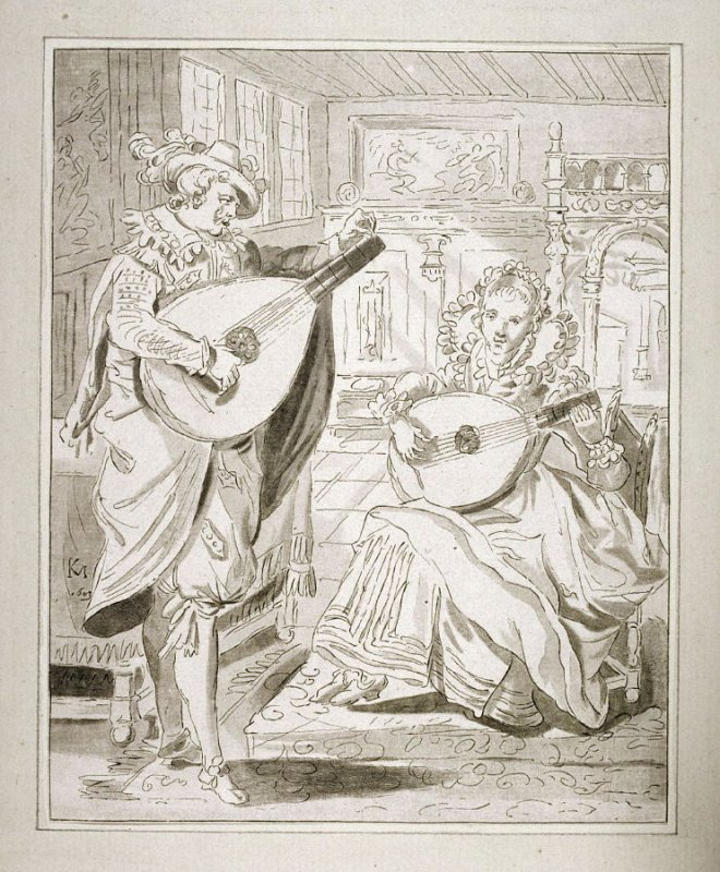 [Man and a woman playing lutes]