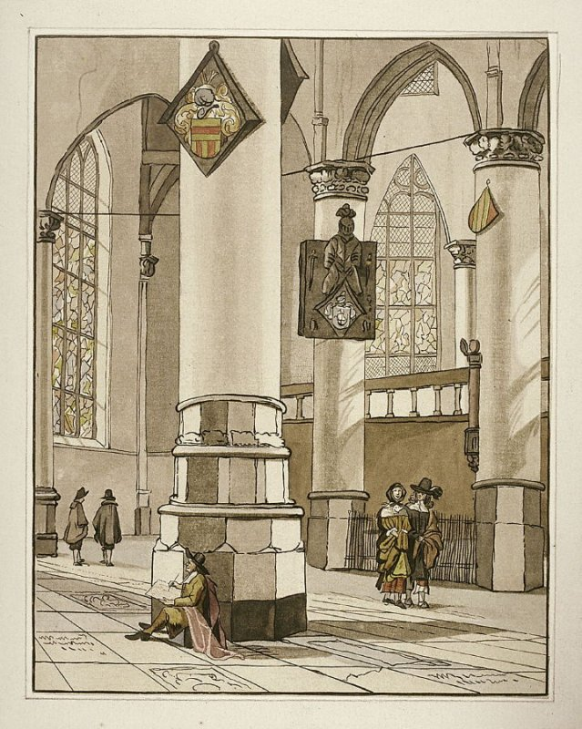 Interior of a Church, man drawing