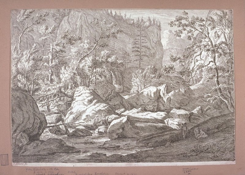 Landscape - small stream running through very rugged ravine with trees and boulders - 3 figures in right foreground