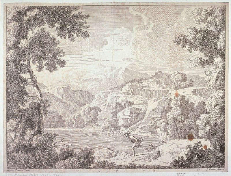 Landscape - hills with buildings in background, women bathing in lake and figure with mask of deer running in front accompanied by dogs