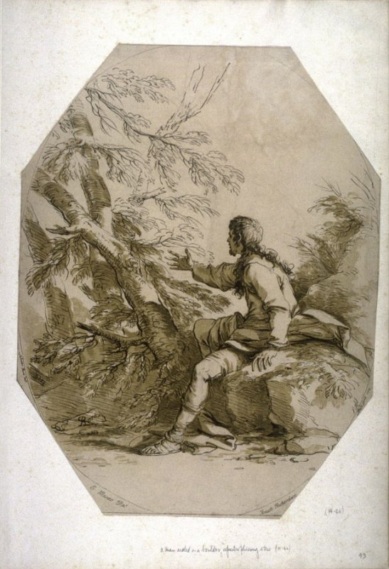 A Man Seated on a Boulder, Apostrophising a Tree, from the series 'Prints in Imitation of Drawings'