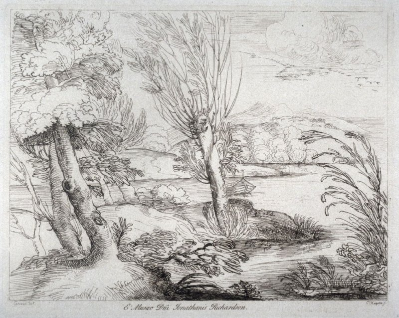 A river landscape with distant mountains, from the series 'Prints in Imitation of Drawings'