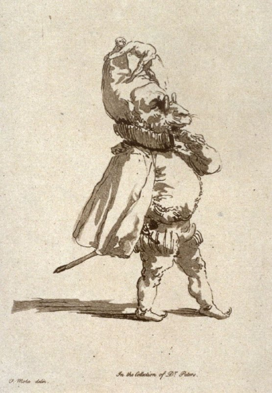 Sheep in cloak and ruff, from the series 'Pond's Caricatures'
