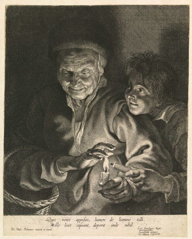 An Old Woman and a Boy with Candles