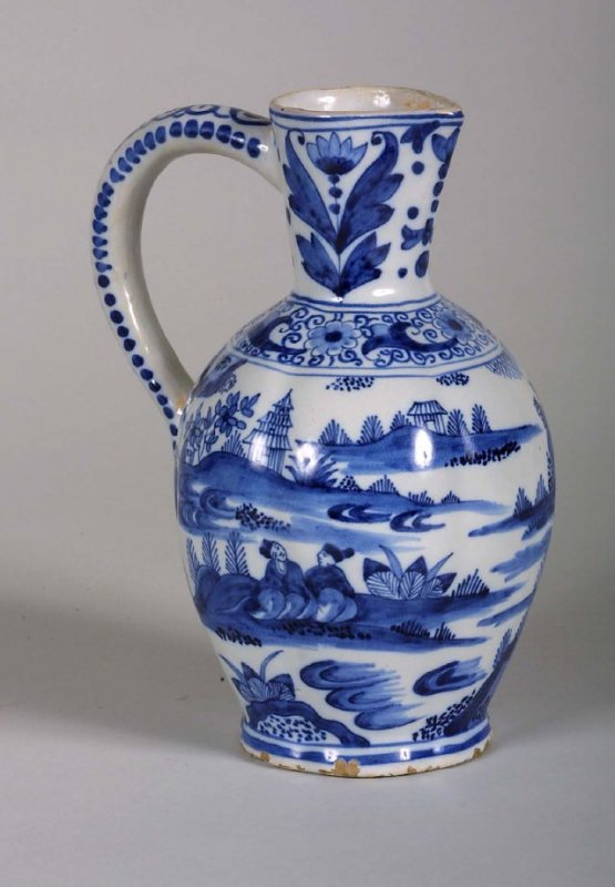 Pitcher, Chinoiserie blue and white