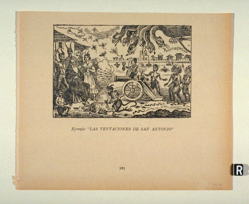 "Ejemplo ""LAS TENTACIONES DE SAN ANTONIO"" (Example of the Temptations of St. Anthony) as reprinted on p. 151 of the Monografia..."