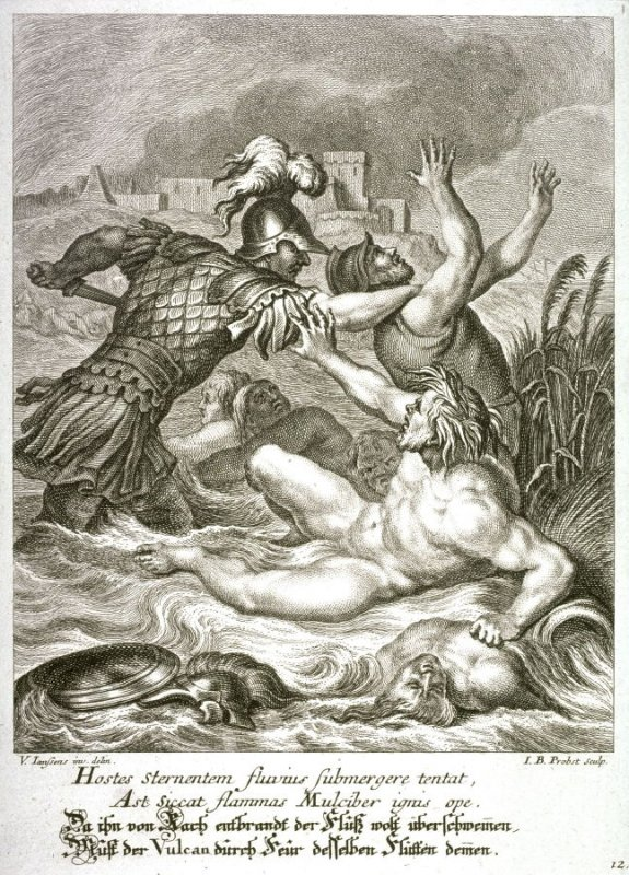 Seething with anger, Achilles crosses streams, while Vulcanus attempts to extinguish fires with his rivers