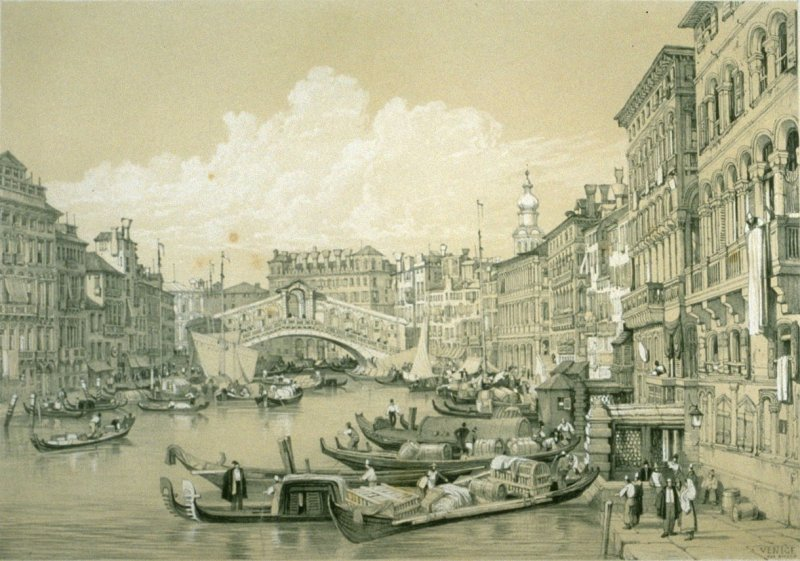 Venice, the Rialto, twenty-first plate in the book Sketches in France, Switzerland and Italy (London: Hodgson & Graves, [ca. 1840])