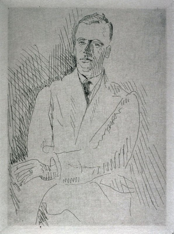 Bust of man seated