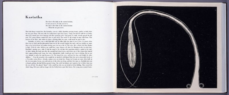 """""""Karintha,"""" between pgs. 8 and 9, in the book Cane by Jean Toomer (San Francisco: Arion Press, 2000)"""