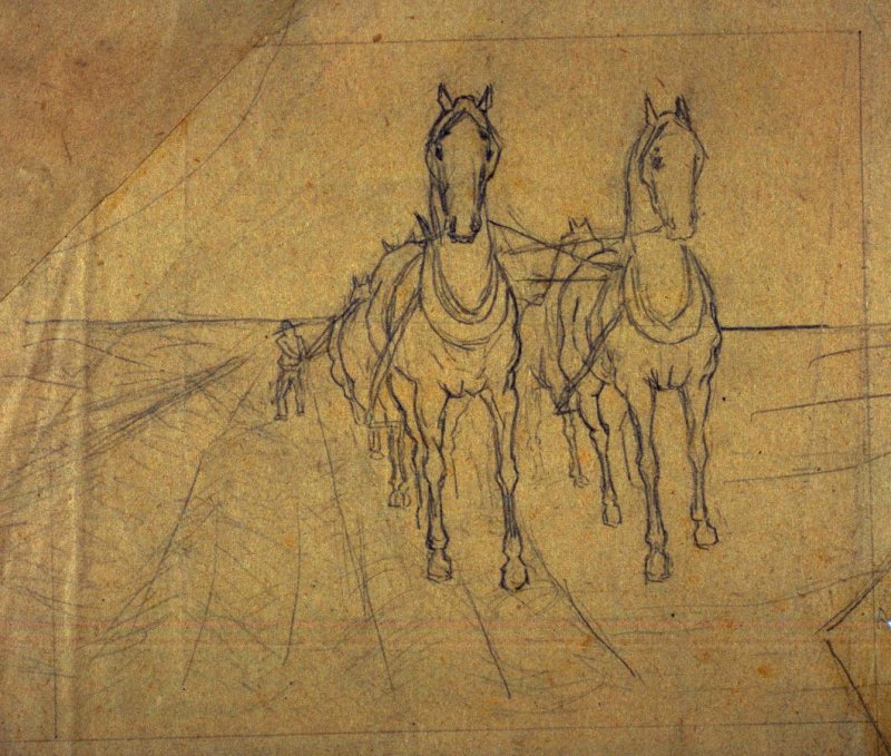 Sketch of wagon team, (front)