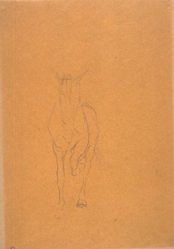 Sketch of trotting horse (Front). Reverse: Sketch of Mounted rider.