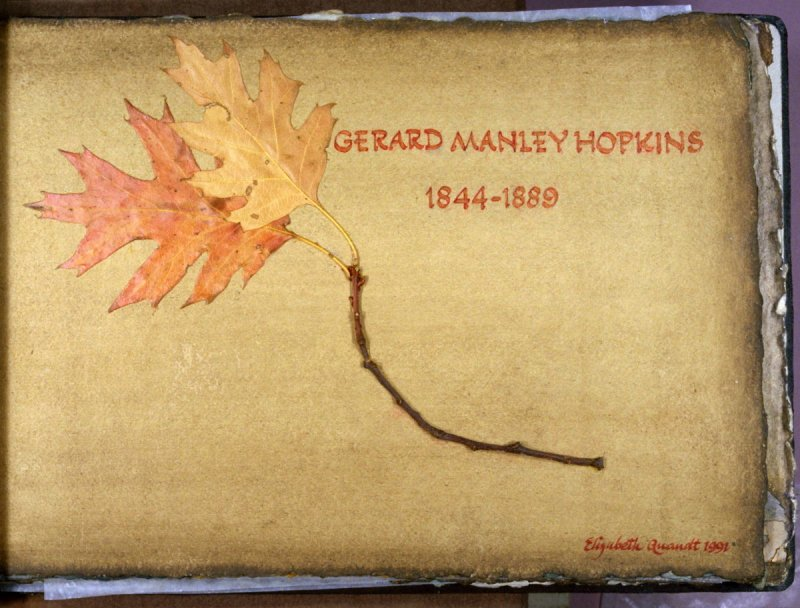 Page with poet's name and dates in the book, artist's signature and date in the book Spring and Fall to a Young Child by Gerard Manley Hopkins