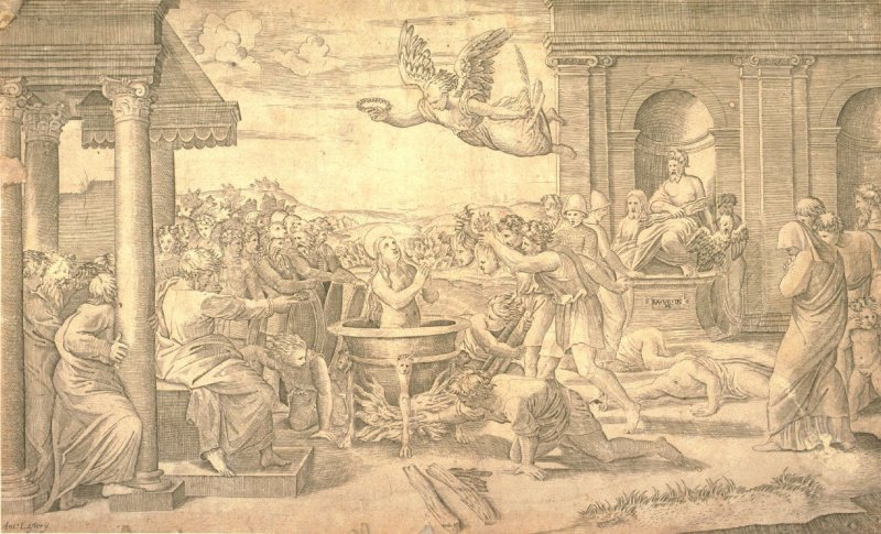 Martyrdom of St. Cecilia, copy of Marcantonio Raimondi's engraving after the lost fresco (ca. 1518) by the Raphael workshop for the Villa Magliana, Rome