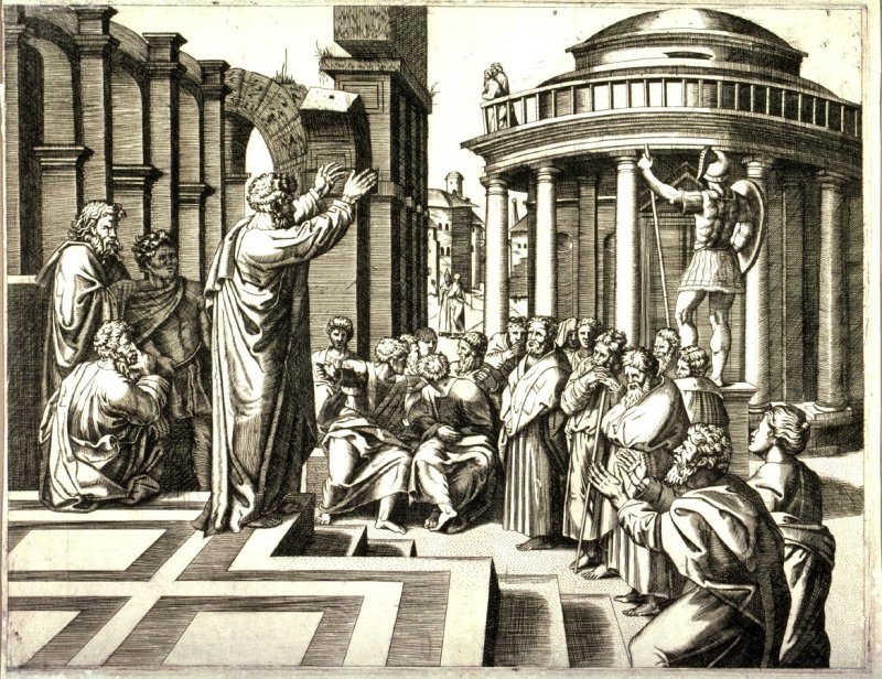 St. Paul preaching at Athens, after Marcantonio Raimondi's engraving after the design by Raphael for the Sistine Chapel tapestries