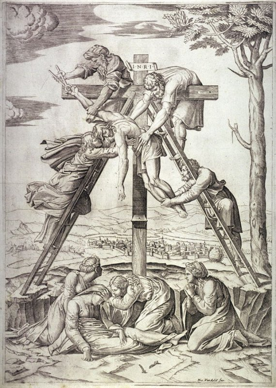 Descent from the Cross, after Marcantonio Raimondi's engraving after Raphael