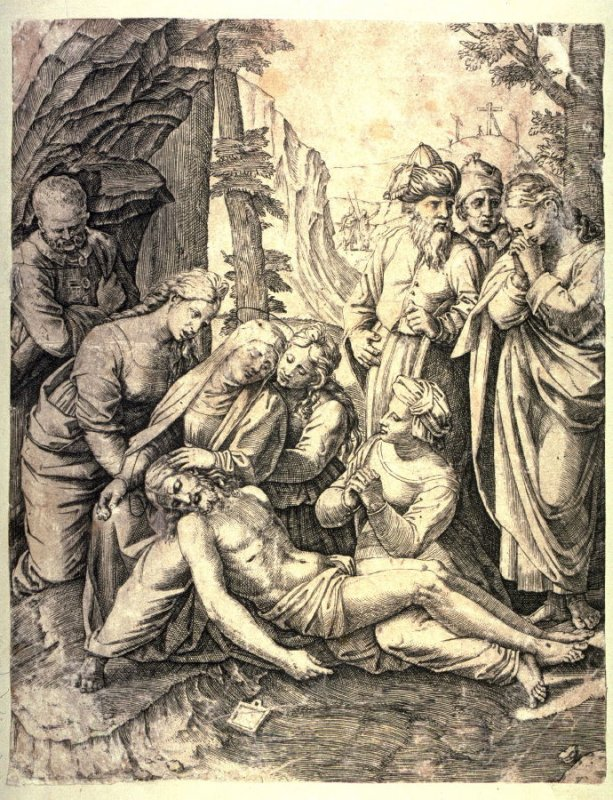 The Lamentation Over the Body of Christ, after the preparatory drawing by Raphael in the Ashmolean Museum, Oxford, for the Baglione Entombment in the Galleria Borghese, Rome