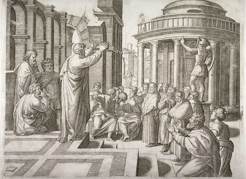 St Paul preaching at Athens, after Raphael's cartoons for the Sistine Chapel Tapestries