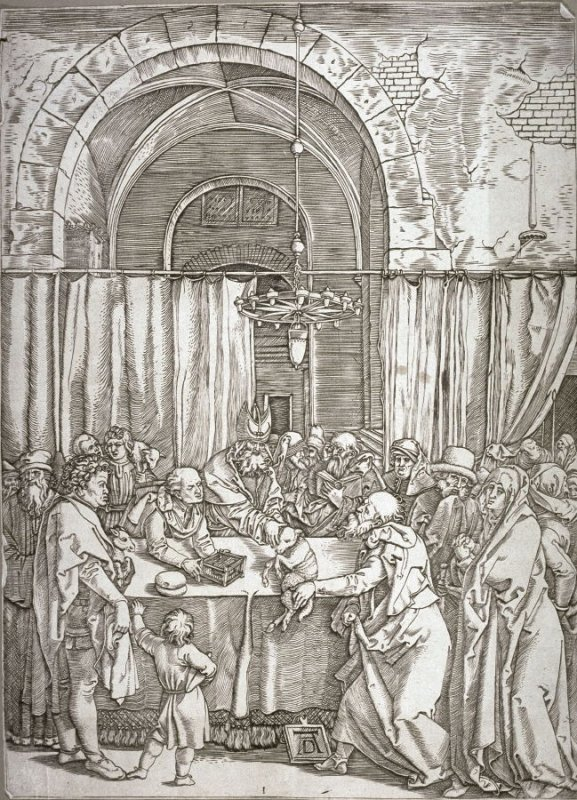 The High Priest Refuses Joachim's Sacrifice,pl. 1 from the series The Life of the Virgin after the woodcuts by Albrecht Dürer