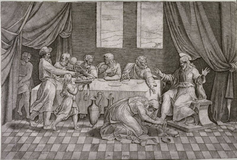 Christ at the table of Simon the Pharisee, after Raphael's design for a lunette fresco for S. Trinità dei Monti, Rome