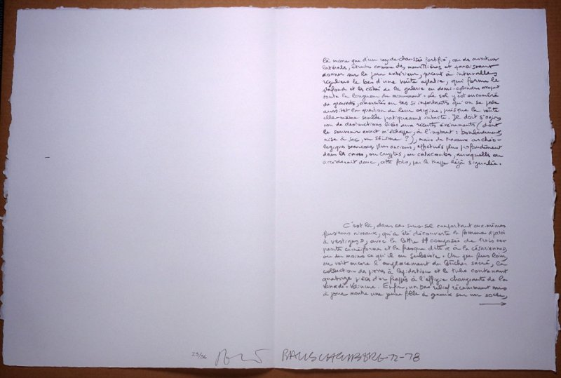 Untitled, pg. 27, in the book Traces suspectes en surface (Suspect Traces on the Surface) by Alain Robbe-Grillet (West Islip, NY: ULAE, 1978)