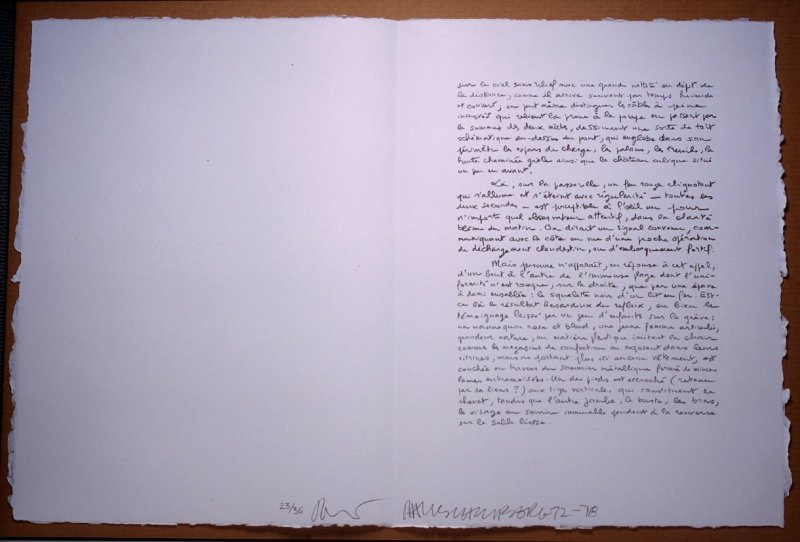 Untitled, pg. 21, in the book Traces suspectes en surface (Suspect Traces on the Surface) by Alain Robbe-Grillet (West Islip, NY: ULAE, 1978)