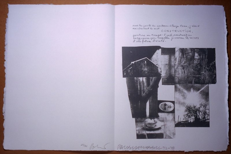 Untitled, pg. 7, in the book Traces suspectes en surface (Suspect Traces on the Surface) by Alain Robbe-Grillet (West Islip, NY: ULAE, 1978)