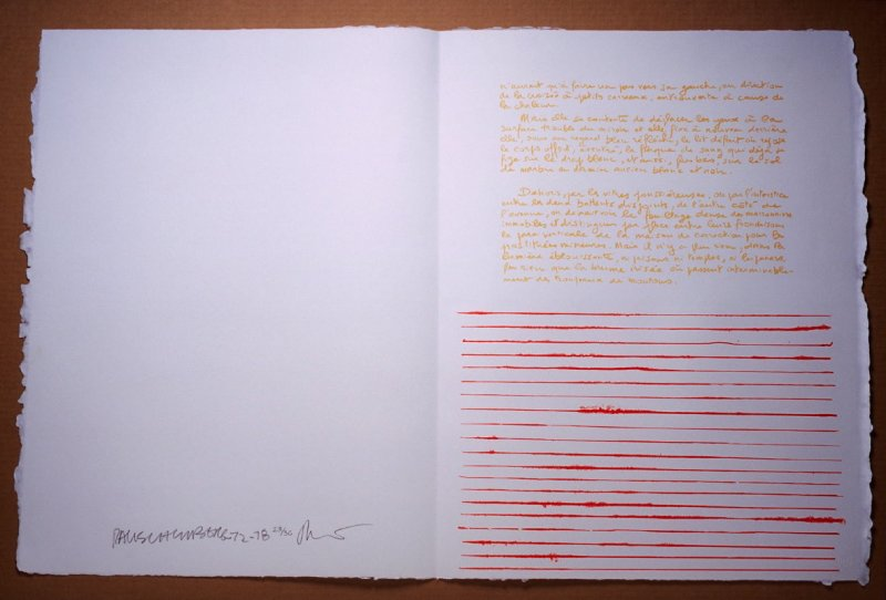 Untitled, pg. 5, in the book Traces suspectes en surface (Suspect Traces on the Surface) by Alain Robbe-Grillet (West Islip, NY: ULAE, 1978)