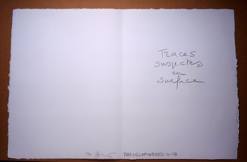 Title Page, in the book Traces suspectes en surface (Suspect Traces on the Surface) by Alain Robbe-Grillet (West Islip, NY: ULAE, 1978)