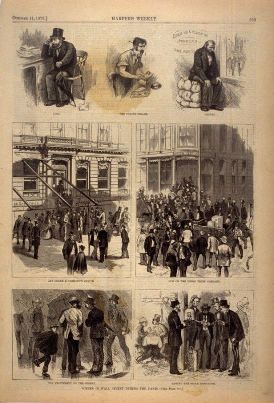 Scenes in Wall Street during the Panic - p.893 Harper's Weekly 11 October 1873