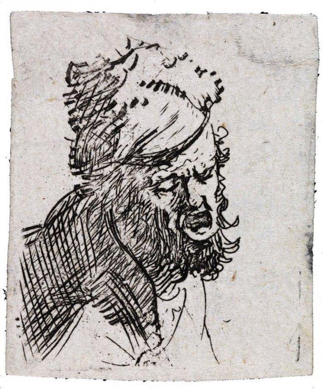 Head of a Man in a Fur Cap, Crying Out