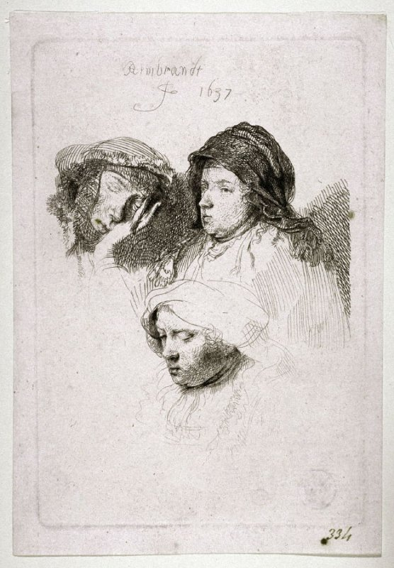 Three Heads of Women: One Asleep