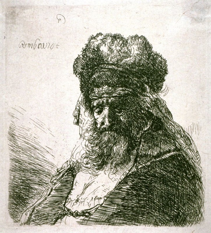 Old Bearded Man in High Fur Cap, with Eyes Closed