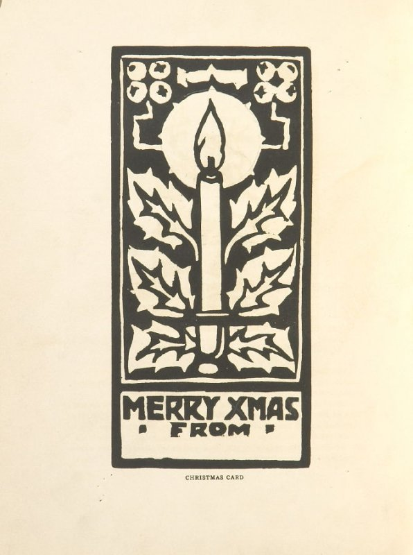 Christmas Card, Illustration 8 in the book Block Printing in the School by William Seltzer Rice