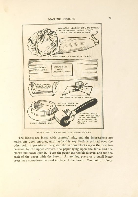 Tools used in printing linoleum blocks, Illustration 15 in the book Block Printing in the School by William Seltzer Rice