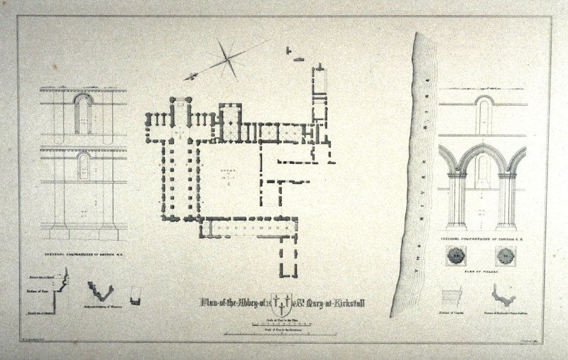 Kirkstall Abbey: Plan, third plate opposite page 20, and eleventh plate in the book, The Monastic Ruins of Yorkshire by Edward Churton (York: Robert Sunter,[ ca. 1855])