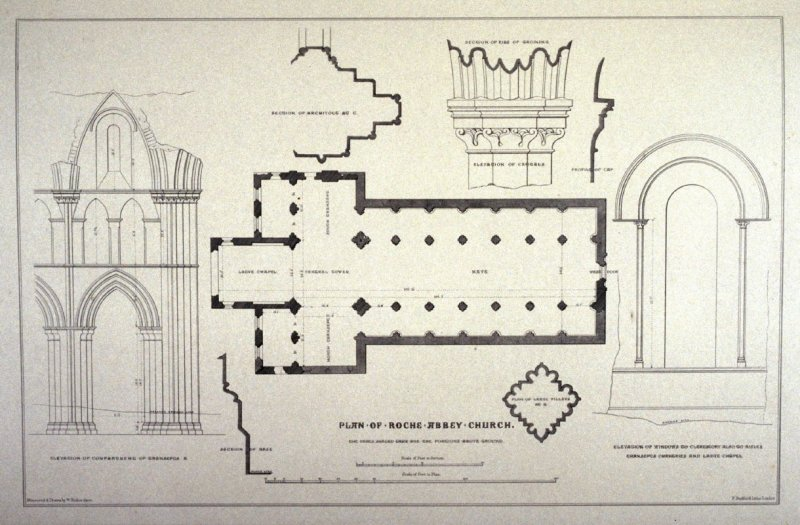Roche Abbey: Plan and details, second plate opposite page 44, and twenty-sixth plate in the book, The Monastic Ruins of Yorkshire (York: Robert Sunter, 1843-[1855])