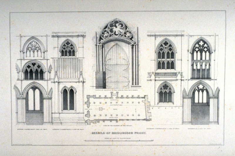 Bridlington Priory : Details, third plate opposite page 62, and forty-eighth plate in the book, The Monastic Ruins of Yorkshire (York: Robert Sunter, 1843-[1855])