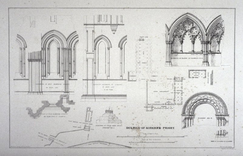 Kirkham Priory: Details , second plate opposite page 80*,and seventy-seventh plate in the book, The Monastic Ruins of Yorkshire (York: Robert Sunter, 1843-[1855])