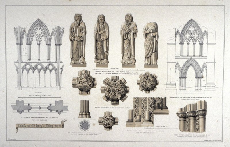 St. Mary's Abbey, York: Details, second plate opposite page 26, and fourteenth plate in the book, The Monastic Ruins of Yorkshire by Edward Churton (York: Robert Sunter,[ ca. 1855])