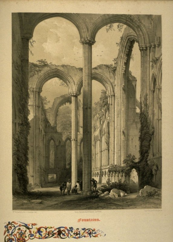 Fountains Abbey: Ladye Chapel, on page [35], and twentieth plate in the book, The Monastic Ruins of Yorkshire (York: Robert Sunter, 1843-[1855])