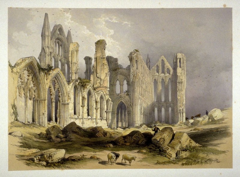 Whitby Abbey: Nave and Choir, on p. [11], and third plate in the book, The Monastic Ruins of Yorkshire by Edward Churton (York: Robert Sunter,[ ca. 1855])