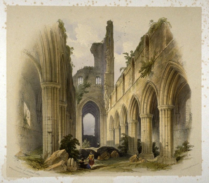 Kirkstall Abbey: Interior, Nave and Choir, on page [17], and eighth plate in the book, The Monastic Ruins of Yorkshire by Edward Churton (York: Robert Sunter,[ ca. 1855])