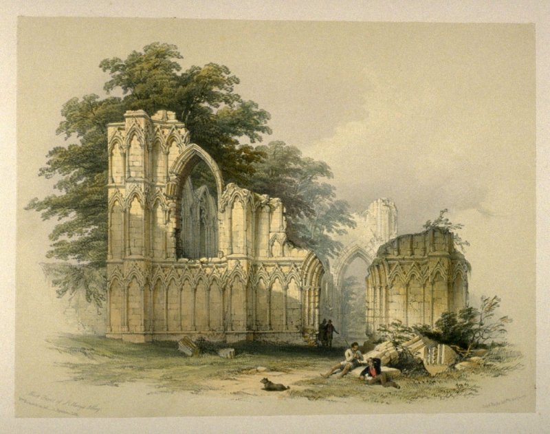 St. Mary's Abbey, York: West End, on page [21], and twelfth plate in the book, The Monastic Ruins of Yorkshire by Edward Churton (York: Robert Sunter,[ ca. 1855])