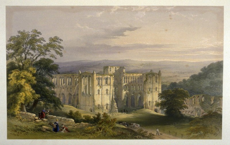 Rievaulx Abbey: Abbey in the Vale, first plate opposite page 34, and seventeenth plate in the book, The Monastic Ruins of Yorkshire (York: Robert Sunter, 1843-[1855])