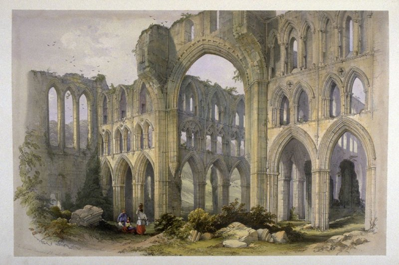 Rievaulx Abbey: Transept and Choir, second plate opposite page 34, and eighteenth plate in the book, The Monastic Ruins of Yorkshire (York: Robert Sunter, 1843-[1855])