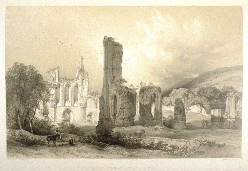 Byland Abbey: Looking West, first plate opposite page 48, and twenty-eighth plate in the book, The Monastic Ruins of Yorkshire (York: Robert Sunter, 1843-[1855])